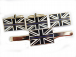 Thin Blue Line Police Cufflink, Lapel Badge and Tie Clip Gift Set